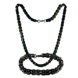 Set Stainless Steel Byzantine Necklace n Bracelet
